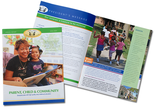 Annual report graphic design, oconomowoc graphic designer