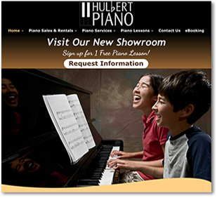 Hulbert Piano  website design by goehre creative