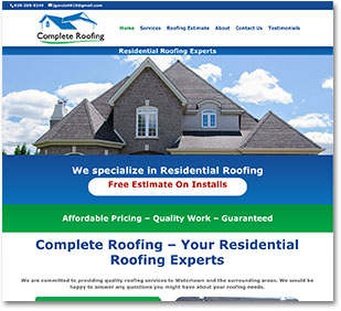 Web Design by Goehre Creative for Complete Roofing from Watertown WI